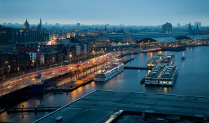 EY9130 Amsterdam skyline at dusk. Image shot 2013. Exact date unknown.